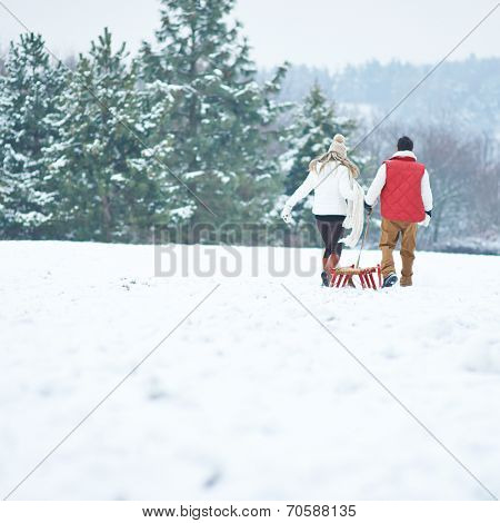 Couple pulling a sled together in snowy winter landscape