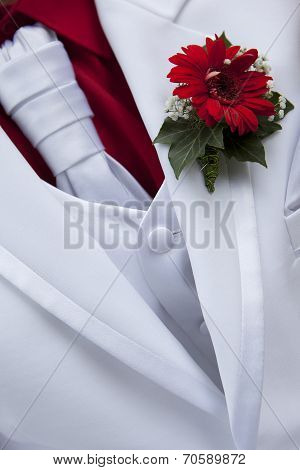 White Wedding Bridegroom Coat With Red Flower