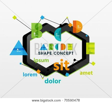 Abstract business geometric infographic diagram layout with figures of alphabet letters A B C D E and sample text