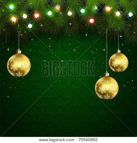 Christmas Lights On Green Background