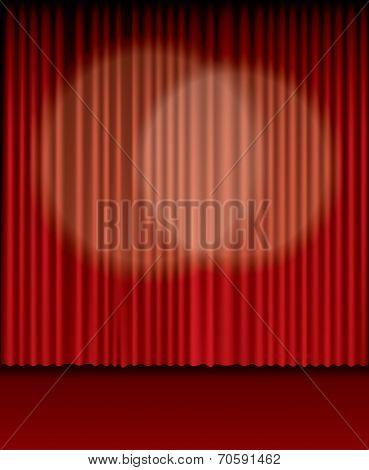 vector background with two spot lights on red curtain