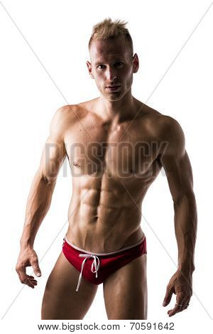 Male Swimmer Standing With Confidence