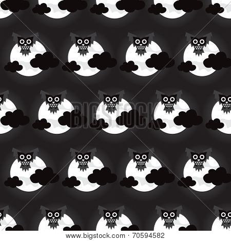 Seamless full moon and dark night halloween owls and clouds illustration background pattern in vector