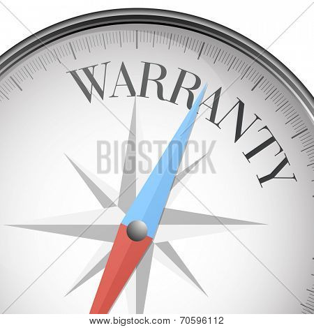 detailed illustration of a compass with warranty text, eps10 vector