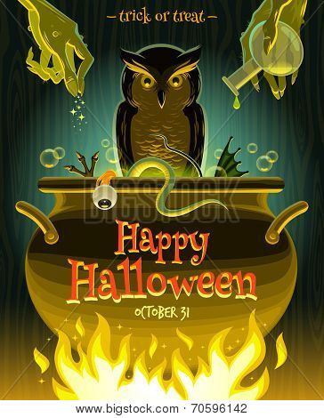 Halloween vector illustration - witch cooks poison potion in cauldron