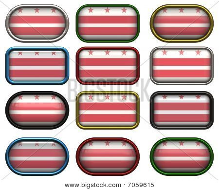 12 Buttons Of The Flag Of Washington Dc