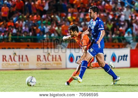 Sisaket Thailand-august 13: Victor Amaro Of Sisaket Fc. (orange) In Action During Thai Premier Leagu