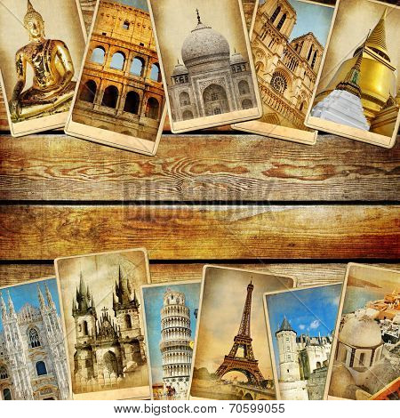 vintage collage - travel background with space for text