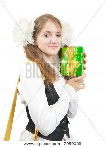 Schoolgirl With  Gift Box