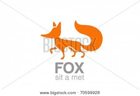 Fox Logo silhouette vector design template. Smart abstract icon. Wildlife animal logotype.