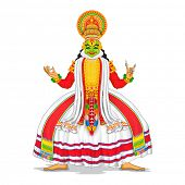 foto of onam festival  - illustration of Kathakali dancer in colorful costume - JPG