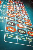 picture of roulette table  - Roulette Table With Green Felt And Chips Placed for Bets - JPG