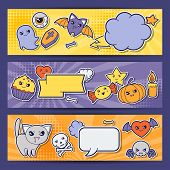 foto of kawaii  - Halloween kawaii horizontal banners with cute doodles - JPG