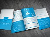 image of prospectus  - Professional business brochure template in modern blue and white design with a lot of icons and line chart - JPG