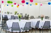 picture of wedding feast  - Holiday wedding table decorations in minimalistic style - JPG