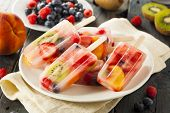 pic of popsicle  - Healthy Whole Fruit Popsicles with Berries Kiwi and Peaches
