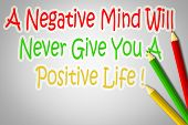 pic of positive negative  - A Negative Mind Will Never Give You A Positive Life Concept text - JPG