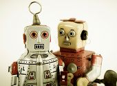 stock photo of tin man  - two robots in love - JPG