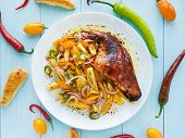 picture of flaxseeds  - Baked rabbit leg with veggies salad. Shallow dof. ** Note: Soft Focus at 100%, best at smaller sizes - JPG