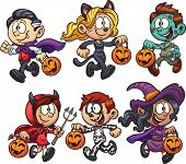 pic of halloween characters  - Cartoon Halloween kids - JPG