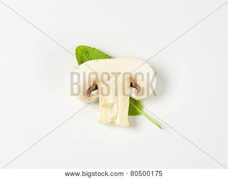 slice of champignon mushroom with leaf of sage