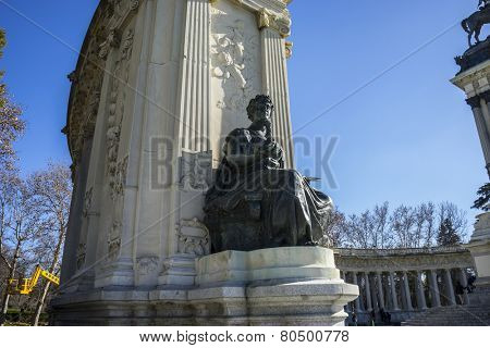 classical bronze sculptures, Lake in Retiro park, Madrid Spain