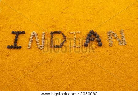 Indian, Words Written On Turmeric