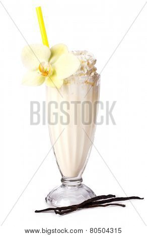 Delicious banana milkshake on a white background