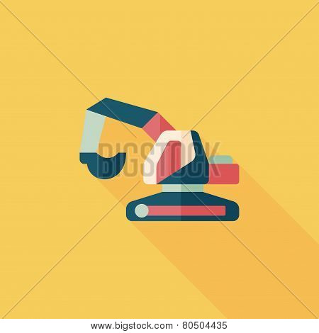 Transportation Excavator Flat Icon With Long Shadow,eps10