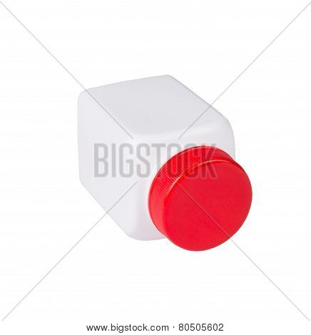White Plastic Medical Container With Red Cap On White Background