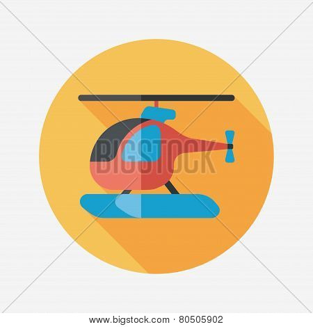 Transportation Helicopter Flat Icon With Long Shadow,eps10