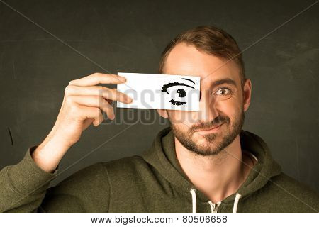 Funny guy with censored sign paper concept