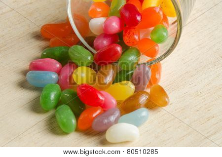 Jelly beans in a glass