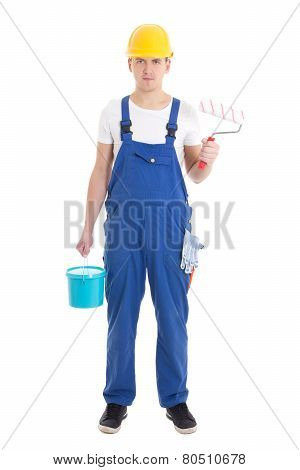 Young Man Painter In Blue Coveralls Isolated On White