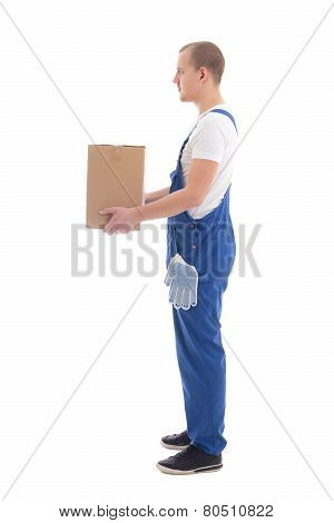 Delivery Concept - Side View Of Man In Workwear With Cardboard Box Isolated On White