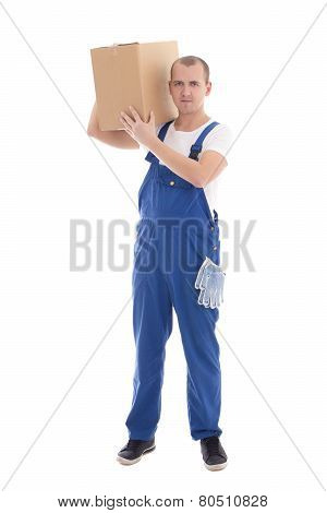 Delivery Concept - Man In Workwear Holding Cardboard Box Isolated On White