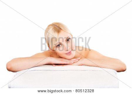Beauty woman lying down. Spa girl.