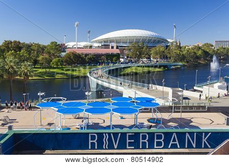 View of River Torrens and Adelaide Oval in Adelaide, Australia