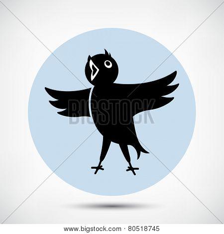 Singing Cute Black Bird Icon. Flat style