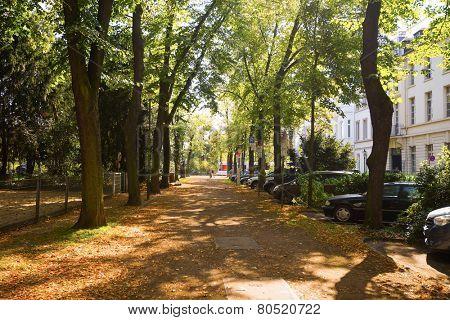 DUSSELDORF, GERMANY - SEP 16: Dusseldorf streets on September 16, 2014. Dusseldorf is the capital city of the German state of North Rhine-Westphalia and centre of the Rhine-Ruhr metropolitan region.