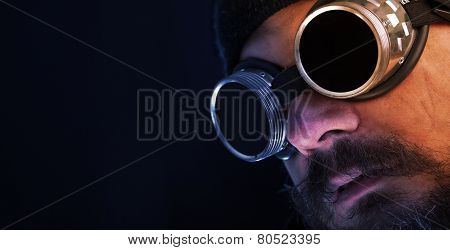 Shag Beard And Mustache Man With Goggles - Copy Space