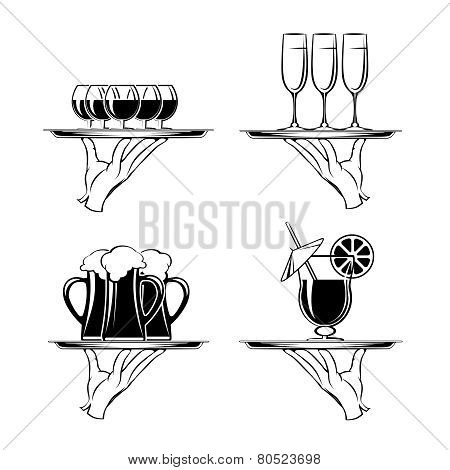 Hand with tray and drinks restaurant silhouettes