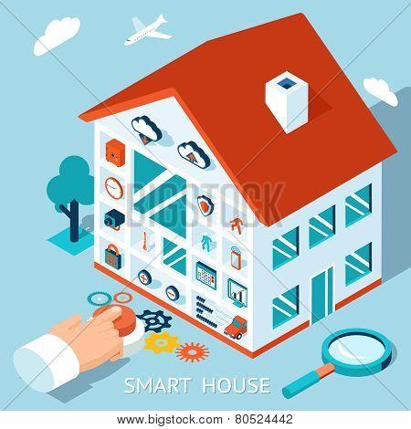 Vector 3d smart home concept. House control button