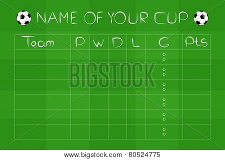 Soccer Championship Group Stages on green field, vector design.