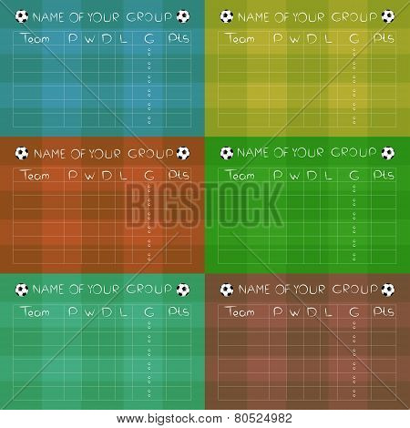 Soccer Championship Group Stages on colored fields, vector design.