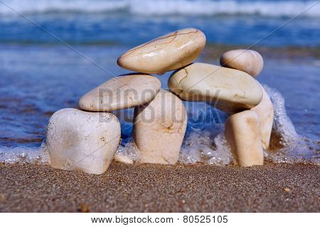 Stones and pebbles on the beach