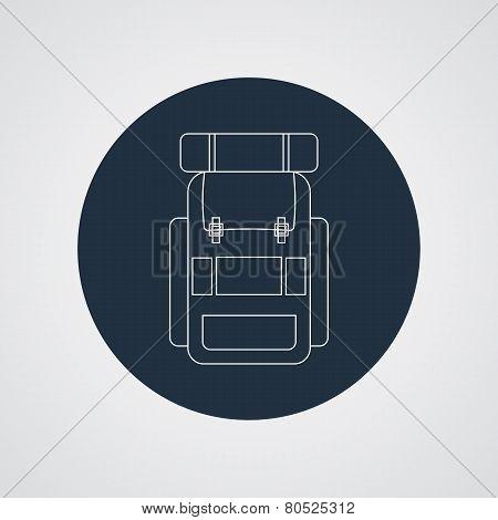 Vector flat modern set of three hiking backpacks. Three retro looking stylish camping and mountain e