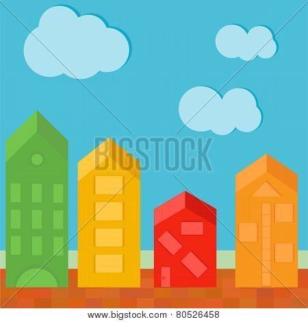 Vector Illustration Of Townhouses In Flat Polygonal Style