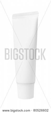 Plastic bottles of shampoo, conditioner, hair rinse, gel, on a white background
