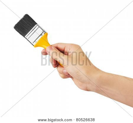 Paint Brush in hand, isolated on a white background